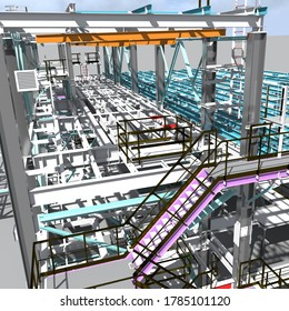 Cover of the construction project of a BIM model of a building made of metal structures. Presentation of the project for the customer, contractor and construction organizer. 3D rendering.