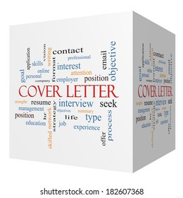 Cover Letter 3D cube Word Cloud Concept with great terms such as interview, resume, summary and more.