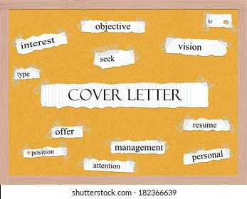 Cover Letter Corkboard Word Concept with great terms such as hr, resume, attention and more.