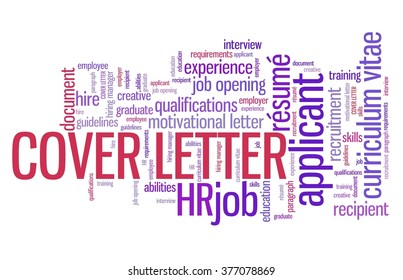 Cover letter - employee qualifications concept. Employment word cloud.