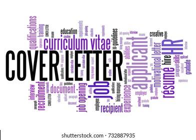 Cover letter - recruitment qualifications concept. Employment word cloud.
