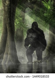 Covered in dark hair, the skunk ape has many names. It's a bigfoot like creature of legend in the Southeastern U.S. Said to inhabit swamps and marshes.  3D Rendering