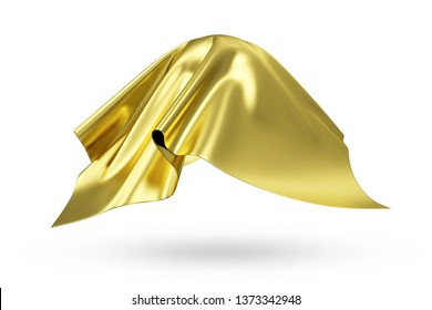 Covered Golden Rippled Silk Fabric isolated on white background. 3D Rendering