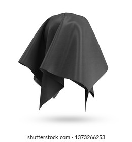 Covered Rippled Black Silk Fabric isolated on white background. 3D Rendering