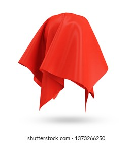 Covered Rippled Red Silk Fabric isolated on white background. 3D Rendering
