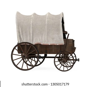 Covered Wagon Isolated. 3D rendering