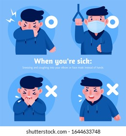 Covering mouth and nose when coughing and sneezing, flu or coronavirus prevention, COVID-19 illustration