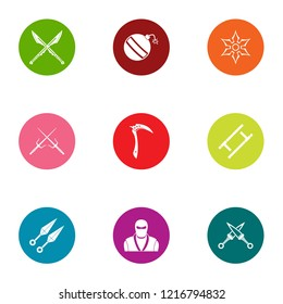 Covert operation icons set. Flat set of 9 covert operation icons for web isolated on white background