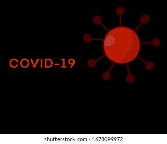 COVID 19 Hintergrund. COVID-Virus auf schwarzem Hintergrund mit Text.