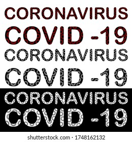 COVID 19. Coronavirus word. Illustration names of the virus consisting of components. Icons of the covid-19 letters in black-white, red style.