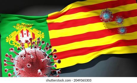Covid in Castello de la Plana - coronavirus attacking a city flag of Castello de la Plana as a symbol of a fight and struggle with the virus pandemic in this city, 3d illustration