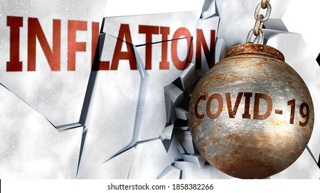 Covid and inflation,  symbolized by the coronavirus virus destroying word inflation to picture that the virus affects inflation and leads to recession and crisis, 3d illustration