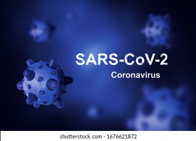 COVID-19 coronavirus banner, 3d illustration. COVID disease theme on blue background. Deadly SARS-CoV-2 corona virus global outbreak. Poster with COVID19 coronavirus pandemic and warning concept.