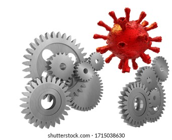 covid-19 coronavirus gears engine production stop problem business  background - 3d rendering