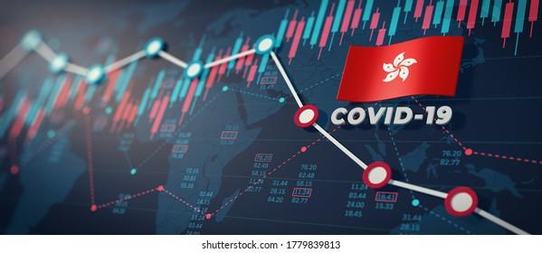 COVID-19 Coronavirus Hong Kong Economic Impact Concept Image. 3d illustration.
