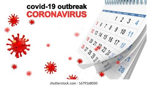 covid-19 coronavirus outbreak calenadar words text virus days for background isolated in white - 3d rendering
