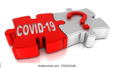 covid-19 covid19 coronavirus puzzle et point d'interrogation poser la prochaine étape, le jour suivant, arrière-plan solution - rendu 3d