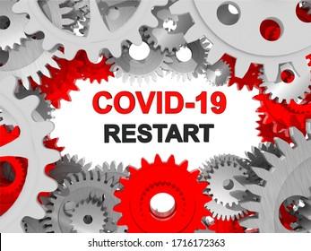covid-19 coronavirus redémarrage engrenages rouge et blanc pour fond - rendu 3d