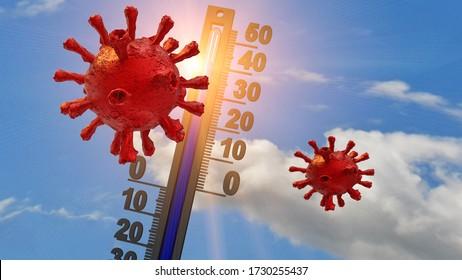 thermomètre de tolérance à la température du coronavirus-19 (Cévid-19) Vacances d'été - Renaissance en 3d