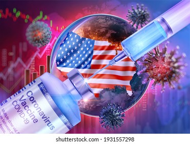 COVID-19 coronavirus vaccine vial, injection drug dose, vaccine syringe on 3D USA flag map background. Coronavirus ncov-2019 virus US american covid 19 vaccine development, immunization, vaccination