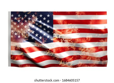 Covid-19 to Country flag United States of America. 3D rendering
