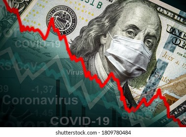 COVID-19 impacts to business: dollar money, face mask and graph of stock market recession during coronavirus pandemic. Economy hits by corona virus. Global financial crisis due to coronavirus spread.