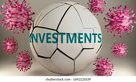 Covid-19 and investments, symbolized by viruses destroying word investments to picture that coronavirus pandemic affects investments in a very negative way, 3d illustration