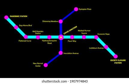 Covid-19 Mock transit map illustration