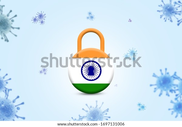 Covid-19 Pandemic 3d India lockdown for quarantine. India and its city under lockdown concept. CORONAVIRUS LOCKDOWN.