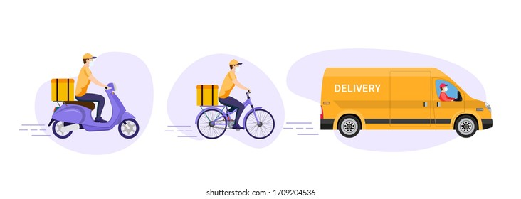 COVID-19. Quarantine in the city. Online delivery service concept, online order tracking. Warehouse, truck, scooter and bicycle courier, delivery man in respiratory mask. raster version