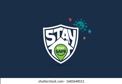 COVID-19, stay home in COVID-19 Coronavirus Outbreak, Work from Home, Stay Home Stay Safe typography in a Shield protected from Coronavirus. Vector Illustration.