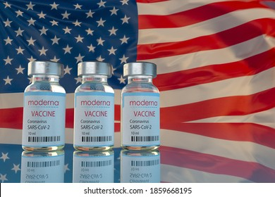 Covid-19 vaccine developed by Moderna on the background of the USA flag ,3d illustration.