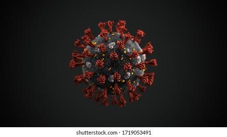 COVID-19 virus 3DCG image. Microscope. Close up.