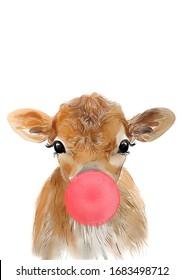 Cow with bubblegum, Baby cow with bubblegum, Nursery decor, Baby animal art, Woodland baby animal, Baby cow print, Kids room decor