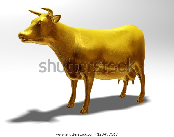 cow or cattle in pure gold