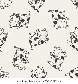 cow doodle seamless pattern background