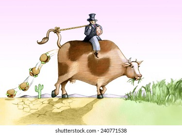 cow eat grass and became hamburgher allegory of food industry that destoi the planet
