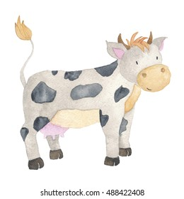 Cow Farm Animal Watercolor Hand-painted Illustration Isolated