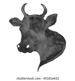 Cow Head Silhouette Watercolor Black Illustration Hand Painted Isolated