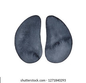 Cow hoof print watercolour sketch. Symbol of wealth, selfless, Earth, abundance, productivity. Hand painted water color illustration on white backdrop, cut out clip art detail for design decoration.