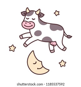 The cow jumped over the moon, from traditional nursery rhyme Hey Diddle Diddle. Cute cartoon illustration.