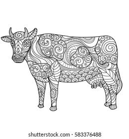 Cow on white background. Farm animal. Black and white lines. Freehand sketch for adult anti stress coloring book page with doodle and zentangle elements.