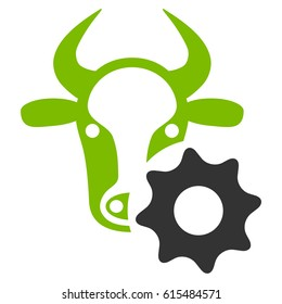 Cow Options Gear raster icon. Flat bicolor eco green and gray symbol. Pictogram is isolated on a white background. Designed for web and software interfaces.