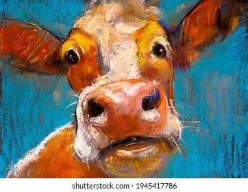 Cow pastel portrait. Modern artwork