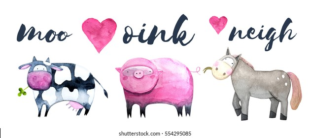 Cow, pig, horse watercolor set. Hand painted illustration of farm animals. For children's books, cards or posters.