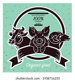 Cow, pig, ram. Hand-drawn sketch in a graphic style. Vintage illustration for poster, signboard.