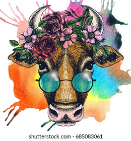 Cow portrait with floral wreath and round sunglasses. Hand drawn raster illustration. Fashion animal for your design.