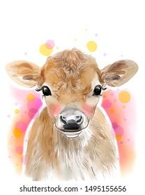 Cow Print, Farm Baby Animal, Calf, Farmhouse Nursery Wall Art Decor, Printable , Poster, Baby Bedroom, Kids Bedroom Decor
