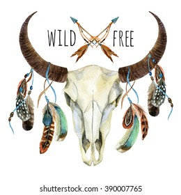 Cow skull. Animal skull with feathers. Buffalo skull with feathers isolated on white background. Wild and free design. Watercolor hand painted illustration.