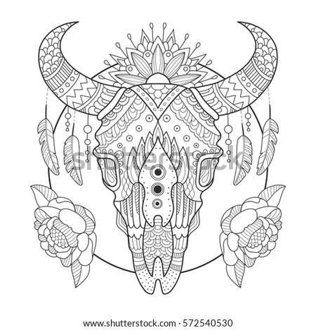 Cow Skull Coloring Book Raster Illustration Stock Illustration